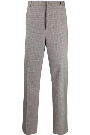 VALENTINO Men Straight Leg Pants - Houndstooth pattern trousers - Grey