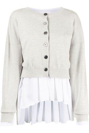 ENFÖLD Women Cardigans - Layered ruffle-hem knitted cardigan - Grey