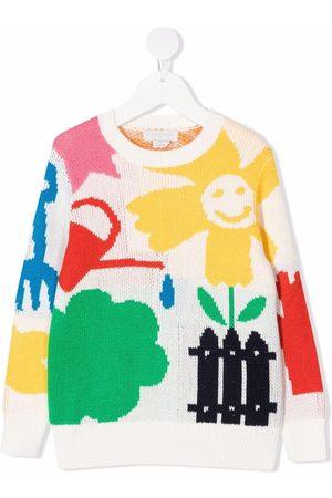 Stella McCartney Kids Girls Sweaters - Garden intarisa-knit jumper