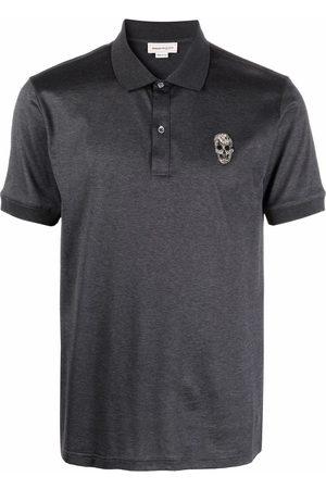 Alexander McQueen Men Polo Shirts - Skull-detail short-sleeved polo shirt - Grey