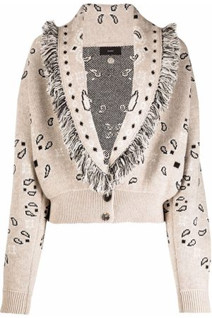 Alanui Women Cardigans - Bandana-print frayed-edge button cardigan - Neutrals