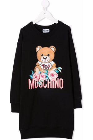 Moschino Kids Girls Casual Dresses - Graphic-print long-sleeve sweater dress