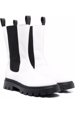 GALLUCCI TEEN round-toe leather boots