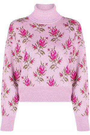 RED Valentino Women Turtlenecks - Patterned intarsia-knit roll-neck jumper