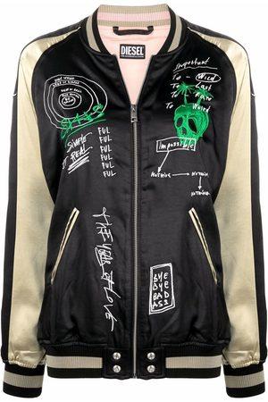 Diesel Women Bomber Jackets - Reversible embroidered bomber jacket