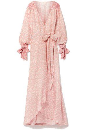 Hannah Artwear Luna floral-print silk-habotai wrap maxi dress