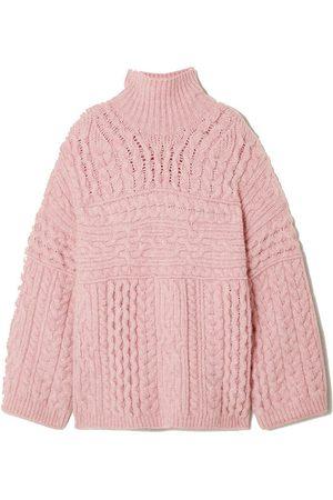 Nanushka Raw cable-knit turtleneck sweater