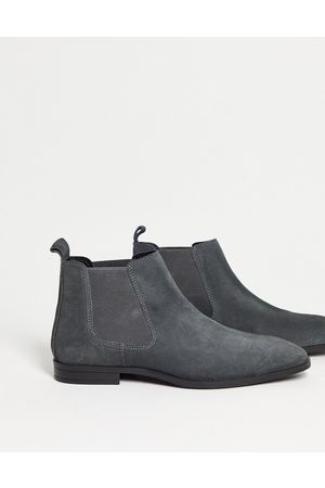 ASOS Men Chelsea Boots - Chelsea boots in suede with black sole-Grey
