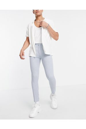 ASOS Super skinny wool mix smart pant in blue puppy tooth-Blues