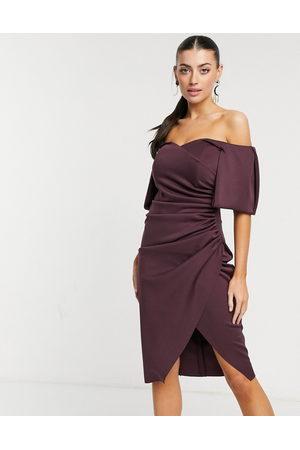 ASOS Sweetheart neck wrap tuck off-the-shoulder midi dress in plum