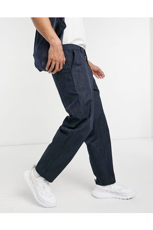 ASOS Carpenter pants in wide fit in texture fabric-Navy