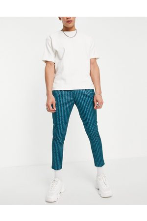 ASOS Men Chinos - Smart tapered cropped pants with retro stripe in blue - part of a set-Blues