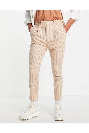 ASOS Men Chinos - Tapered smart pants in peach pinstripe
