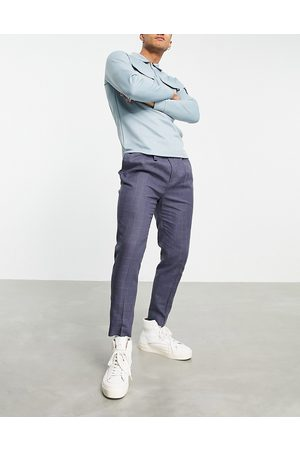 ASOS Tapered smart pants in navy linen check