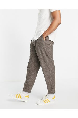 ASOS Oversized tapered smart pants in stone puppy tooth-Neutral