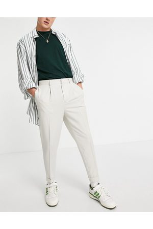 ASOS Tapered smart pants in off white-Neutral