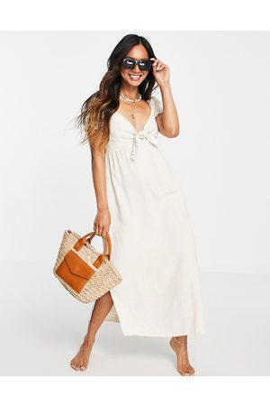 Rhythm Aylah tie front maxi beach dress in sand-Neutral