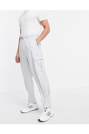 ASOS Men Cargo Pants - High waist slim cargo smart pants in crepe-Grey