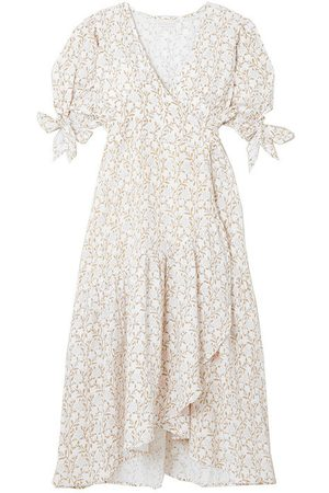 Hannah Artwear Yulara floral-print cotton-gauze wrap midi dress