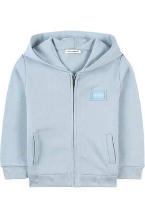 Dolce & Gabbana Kids - Blue Grey Logo Hoodie - Boy - 12-18 months - Grey - Hoodies
