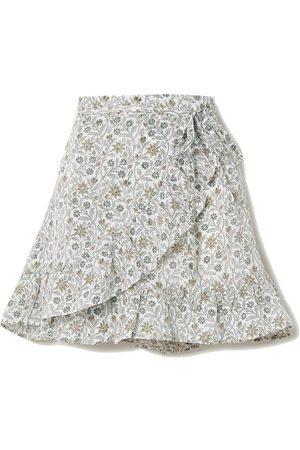 Hannah Artwear Senna floral-print linen wrap mini skirt