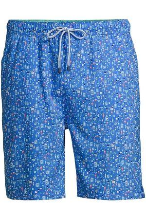 Peter Millar Men Swim Shorts - Men's Patterned Drawstring Swim Trunks - Plumbago - Size Medium