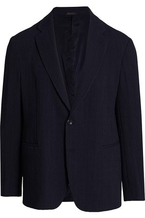 Armani Men Blazers - Men's Wool-Blend One-Button Blazer - Navy - Size 48