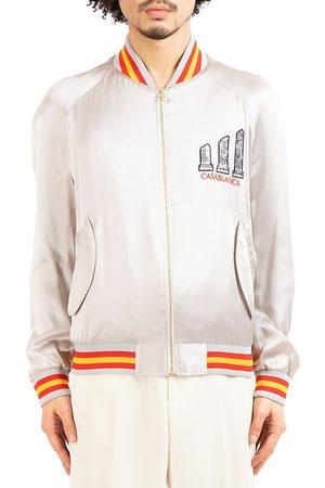 Casablanca Men Bomber Jackets - Men's Grand Prix Embroidered Souvenir Jacket - Grey - Size Medium