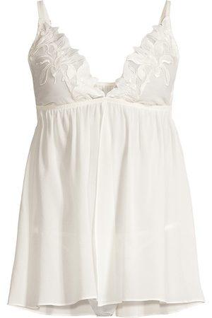 FLEUR DU MAL Women Lingerie Bodies - Women's Lily Embroidered 2-Piece Babydoll & Thong Set - Ivory - Size Medium