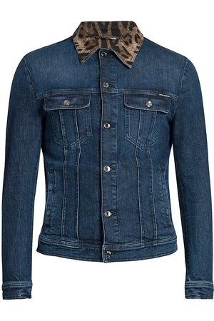 Dolce & Gabbana Men's Leopard Collar Denim Jacket - - Size 44