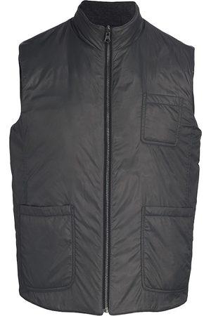 Saks Fifth Avenue Men's Reversible Melange Quilted Vest - Grey - Size Small