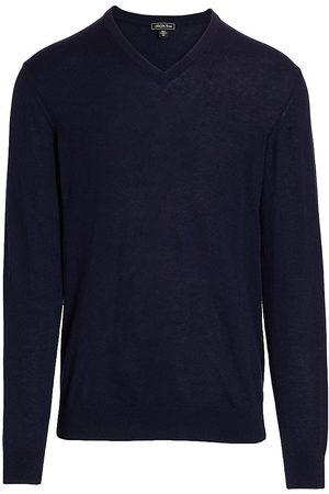 Saks Fifth Avenue Men Sports Hoodies - Men's V-Neck Cashmere Sweater - Navy - Size Medium