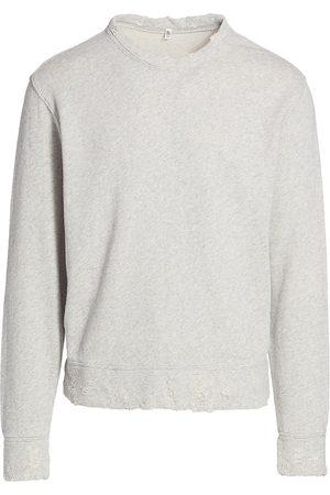 R13 Men's Distressed Crewneck Sweatshirt - Heather Grey - Size XL