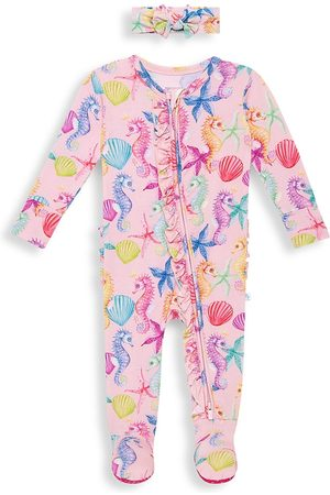 Posh Peanut Baby Girl's Coral Footie & Headwrap Set - Med - Size 12 Months