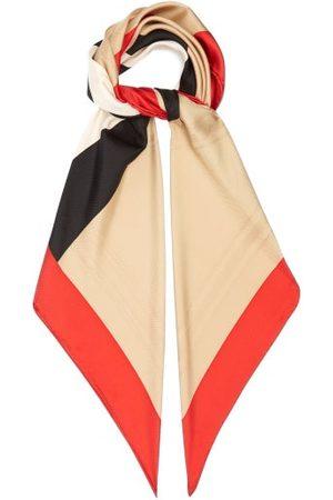 Burberry Icon Stripe Logo-jacquard Silk-twill Scarf - Womens - Multi