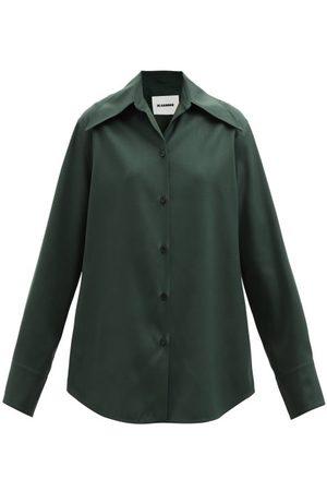 Jil Sander Oversized Wool Gabardine Shirt - Womens - Dark