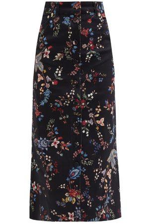 Erdem Victorine Flared Floral-print Denim Skirt - Womens