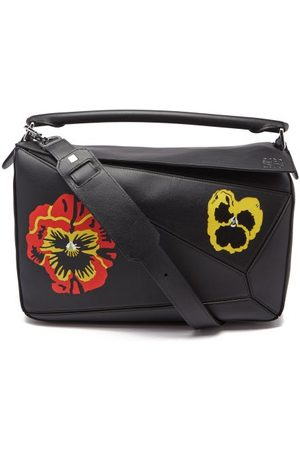 Loewe Puzzle Pansy-print Leather Crossbody Bag - Womens - Multi