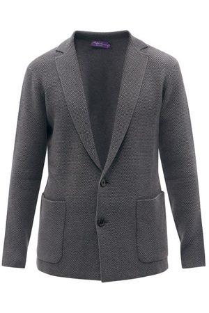 Ralph Lauren Purple Label Men Cardigans - Patch-pocket Waffle-knit Cardigan - Mens - Grey