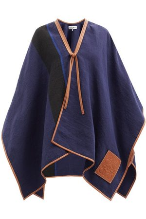 Loewe Striped Linen And Cotton-blend Cape - Womens - Navy
