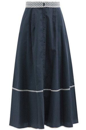 Erdem Mervyn Lace-trim Dotted-poplin Midi Skirt - Womens - Navy