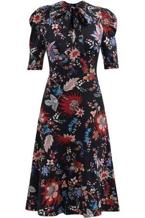 Erdem Norene Hogarth-print Crepe De Chine Midi Dress - Womens - Multi