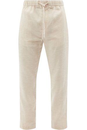 Frescobol Carioca Men Skinny Pants - Linen-blend Canvas Slim-leg Trousers - Mens