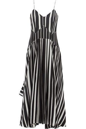 Victoria Beckham V-neck Striped Silk-crepe Midi Dress - Womens