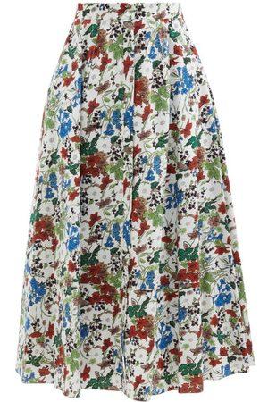 Erdem Mervyn Charleston-print Cotton-poplin Midi Skirt - Womens - Multi
