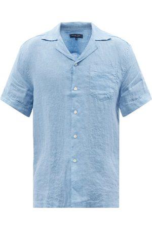 Frescobol Carioca Cuban-collar Short-sleeved Linen Shirt - Mens - Light