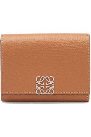 Loewe Logo-plaque Leather Cardholder - Womens - Tan