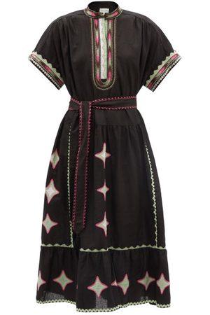 SALONI Ashley Embroidered Cotton-blend Poplin Midi Dress - Womens - Multi