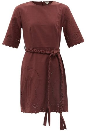 BELIZE Genesis Belted Broderie-anglaise Cotton Mini Dress - Womens