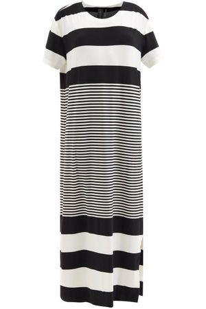Norma Kamali Round-neck Striped Jersey Dress - Womens - Stripe